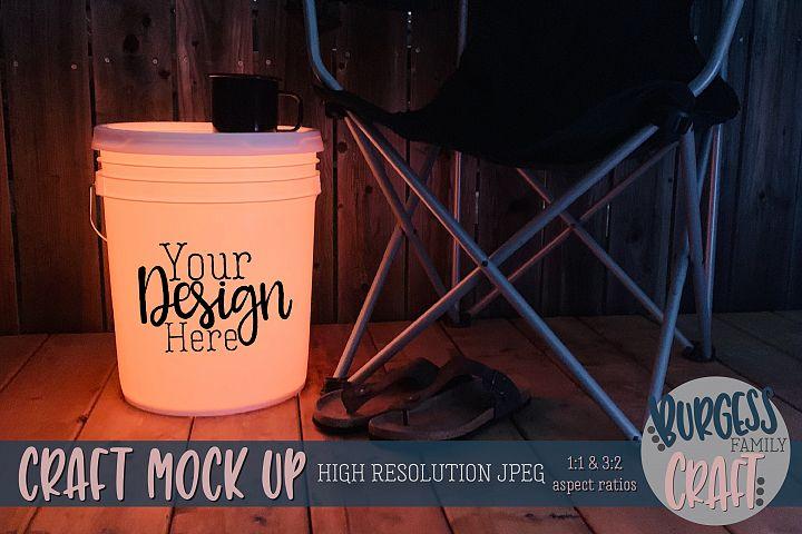 Bucket light table orange Craft mock up|High Resolution JPEG
