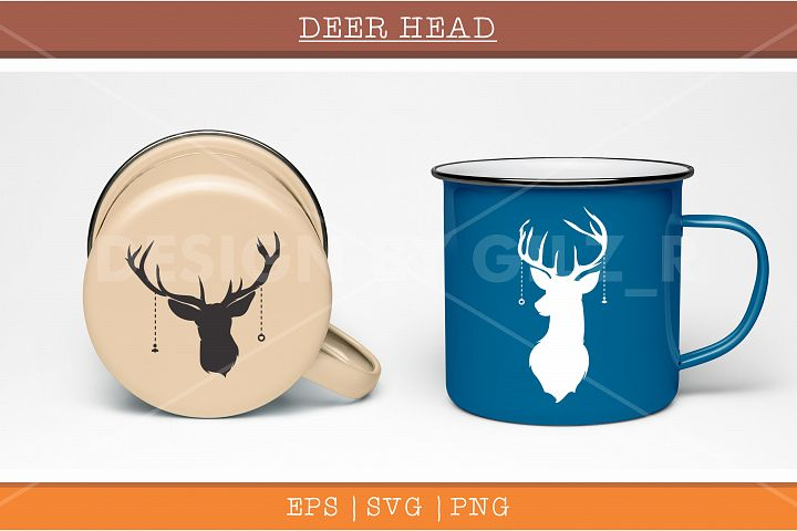 Deer head silhouette vector illustration design for mug, cup and etc