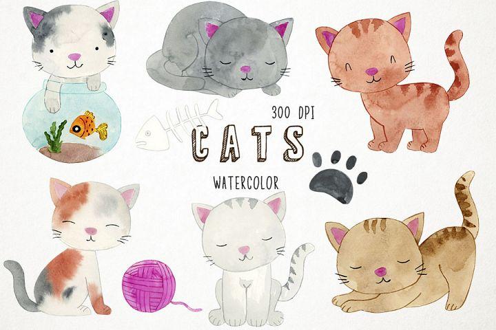 Watercolor Cats Clipart, Cats Clip Art, Kitten Clipart