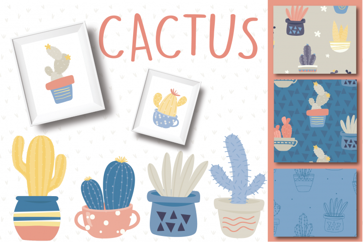 Cactus clipart and paper set