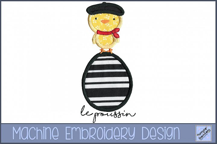 French Chick on Easter Egg Applique Embroidery Design