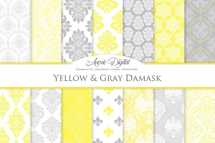 28 Yellow and Gray Damask Patterns - Seamless Digital Papers Bundle