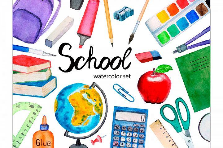 Watercolor School Clipart, Teacher Clipart, School Supplies