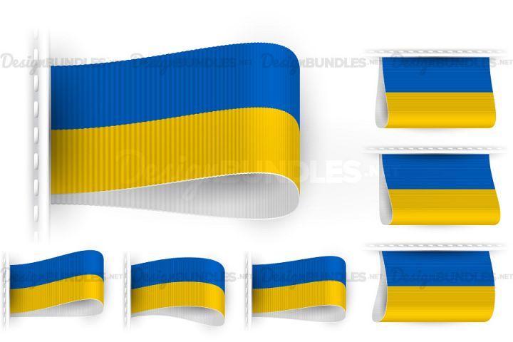 Vector Ukraine Flag Tag Clothes Label Sticker Sewn Set