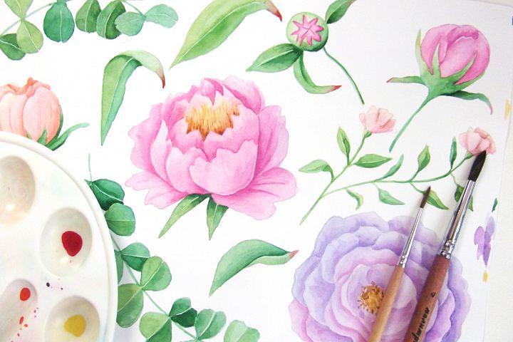 Watercolor Floral DIY Set - Free Design of The Week Design 6