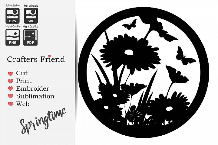 Spring Flowers in a Circle - Cut File for Crafter