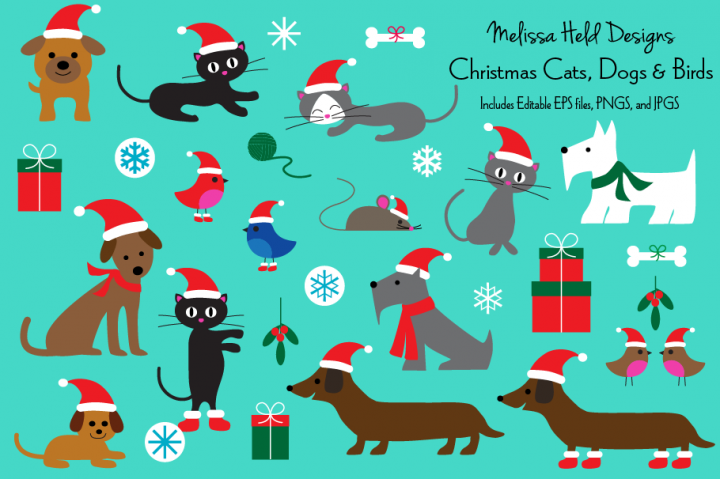 Christmas Cats, Dogs, and Birds