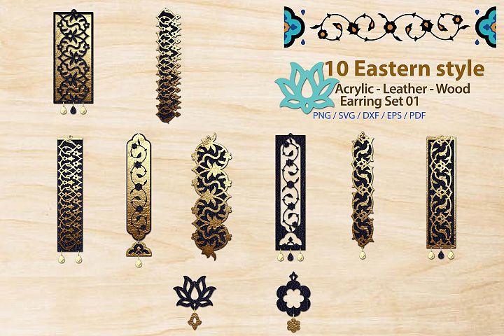 Eastern style Acrylic Leather Wood Earring Bundle 01