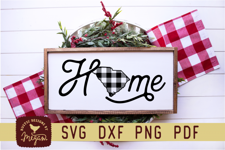 South Carolina Buffalo Plaid State Home SVG DXF