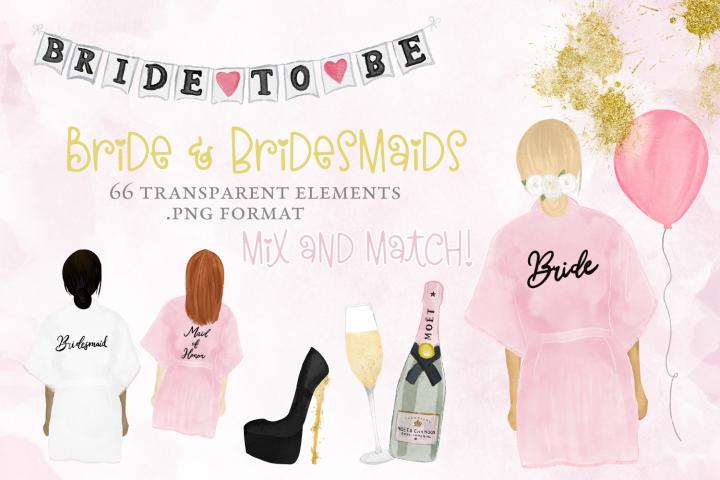 Bridal, bachelorette, wedding party watercolor elements