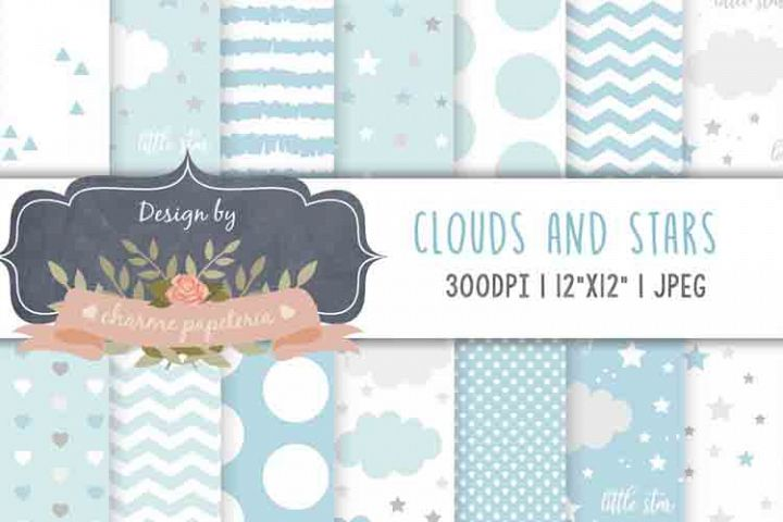 Cute Clouds Grey and Blue Stars Dreams Digital Paper Baby