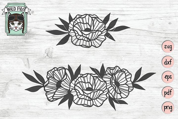 Flowers SVG file, Flower Border svg, Floral cut file