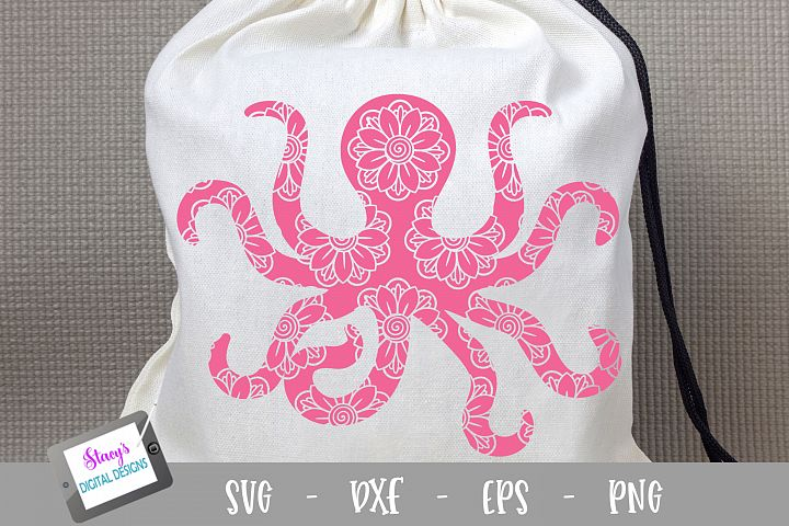 Octopus SVG - Octopus with floral mandala pattern