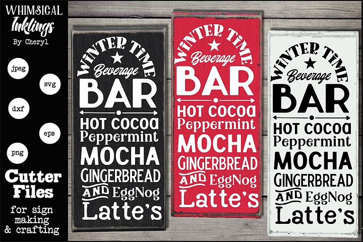 Winter Time Beverage Bar Cocoa-Coffee SVG