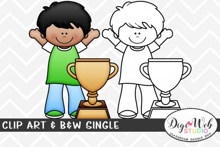 Clip Art & B&W Single - Trophy Winner - Sports Boy