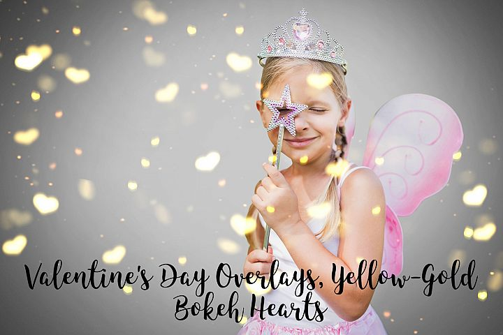 Valentines Day Overlays, Yellow Gold Hearts Bokeh Overlays