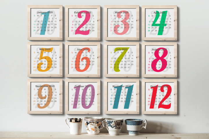 Monthly Calendar 2020 Square Shaped Printable PDF PNG files