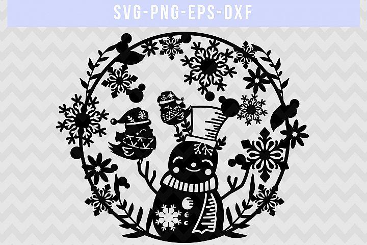 Winter SVG Cut File, Snowflake Papercut, Snowman Laser Cut