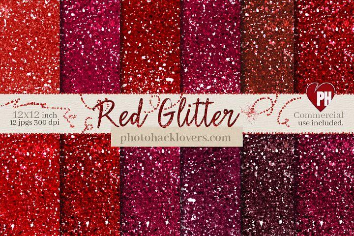Red Glitter Digital Paper