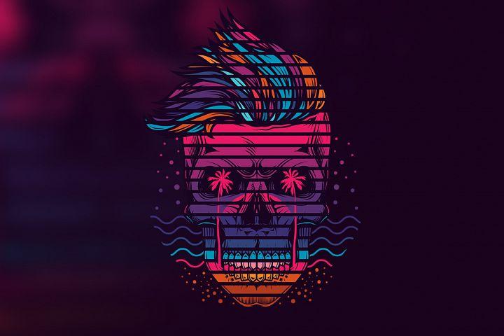 Neon hipster skull summer