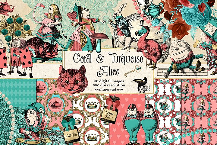 Coral and Turquoise Alice in Wonderland Graphics