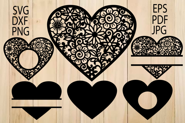 Heart SVG, Zentangle Heart SVG, Mandala Heart, Heart Frames