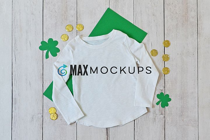 White girl shirt St Patricks mockup, raglan, green shamrocks