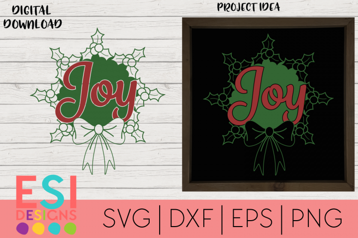 Christmas SVG |Joy Holly Wreath Design
