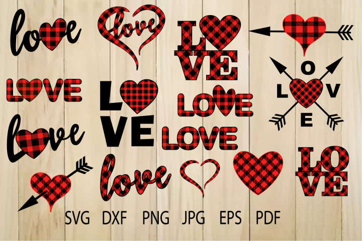 Buffalo Plaid Heart SVG, Plaid Love SVG, Valentine Heart