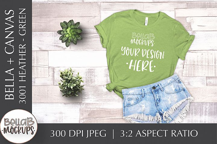 Bella Canvas 3001 Heather Womans T Shirt Mockup, Green