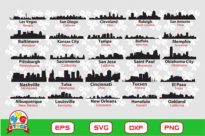 US City Skyline svg, Clipart for Sihouette Cameo and Cricut.