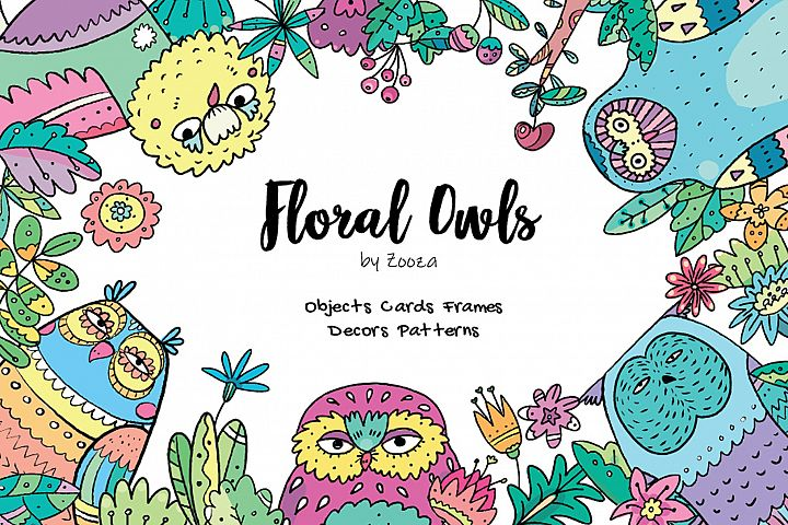 Floral Owls - 55 objects example