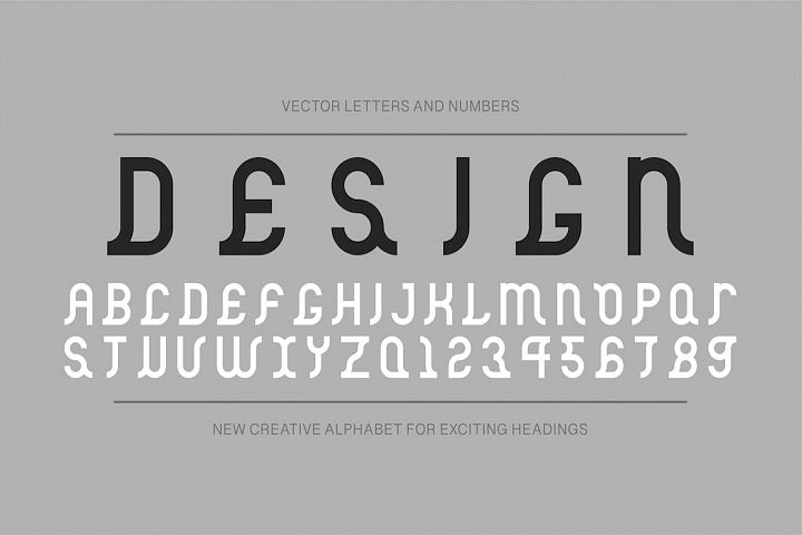 Vector ancient creative alphabet