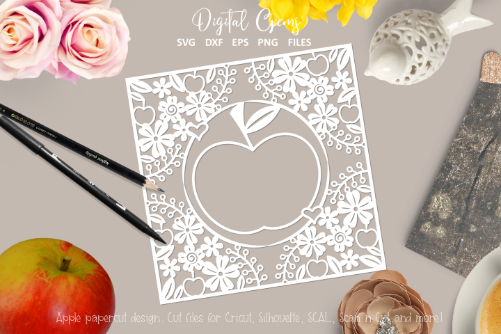 Apple paper cut design. SVG / DXF / EPS / PNG files