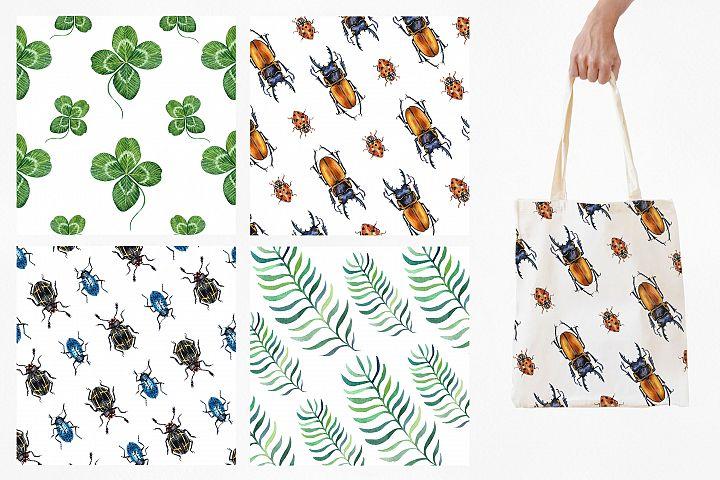 Beetles & Leaves. Watercolor set illustrations example image 9