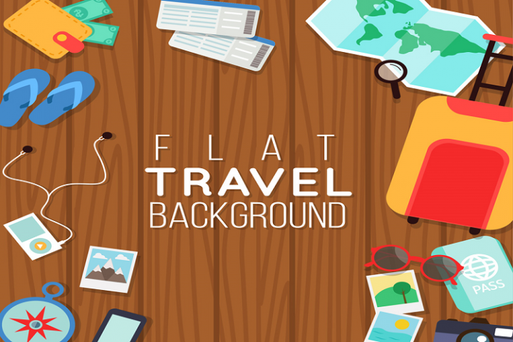 Colored flat travel elements vector