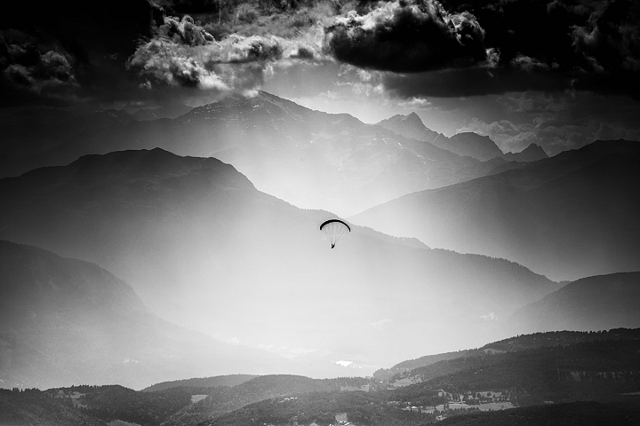 Parachute high up in the mountains