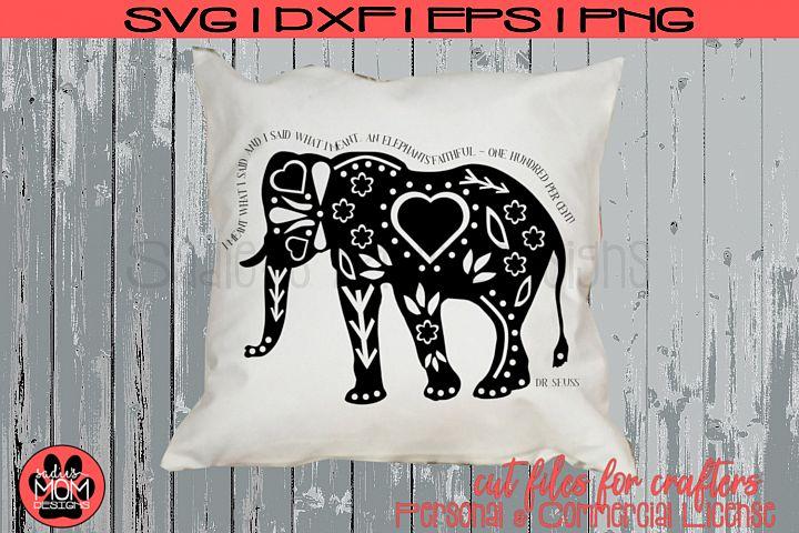 Dr Seuss Doodle Elephant SVG | Horton Cut File Design
