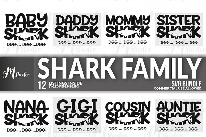 Shark Family svg.