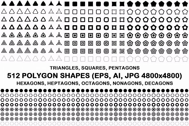 512 polygon shapes EPS, AI, JPG 4800x4800