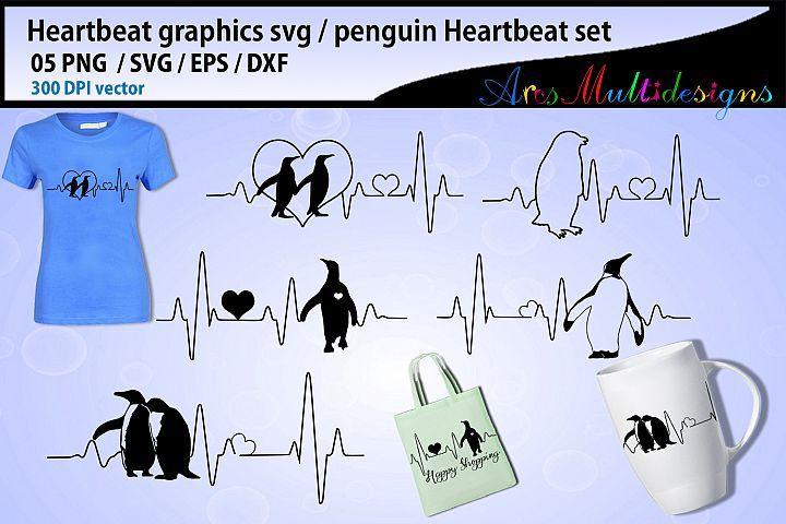 Penguin heartbeat graphics and illustration / heartbeat svg