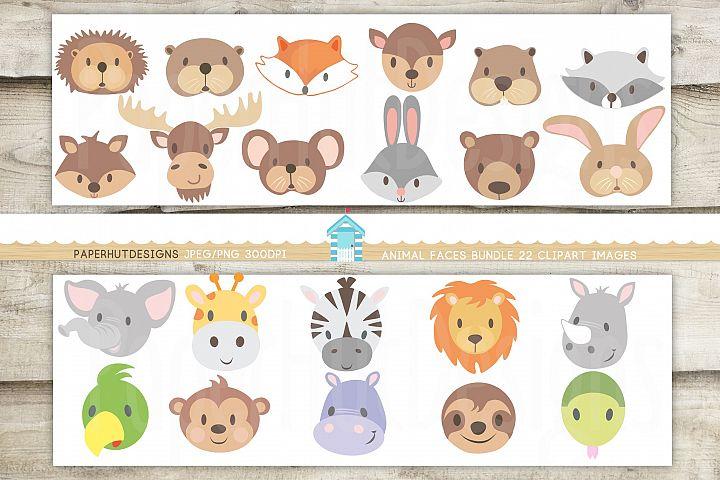 Animal Faces Clipart Bundle