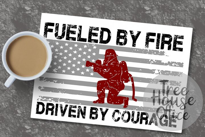 Fueled By Fire Firefighter Hero Fireman Woman SVG DXF PNG
