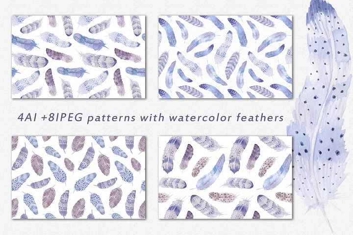Watercolor feathers Boho - Free Design of The Week Design2