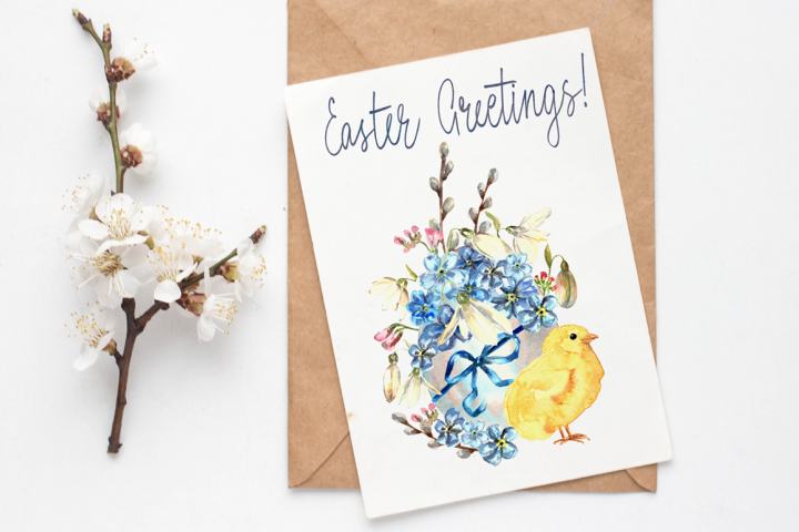 Watercolor Easter Card and Clip Arts