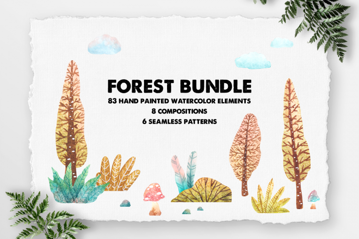Forest handpainted Watercolor cliparts by shoko design