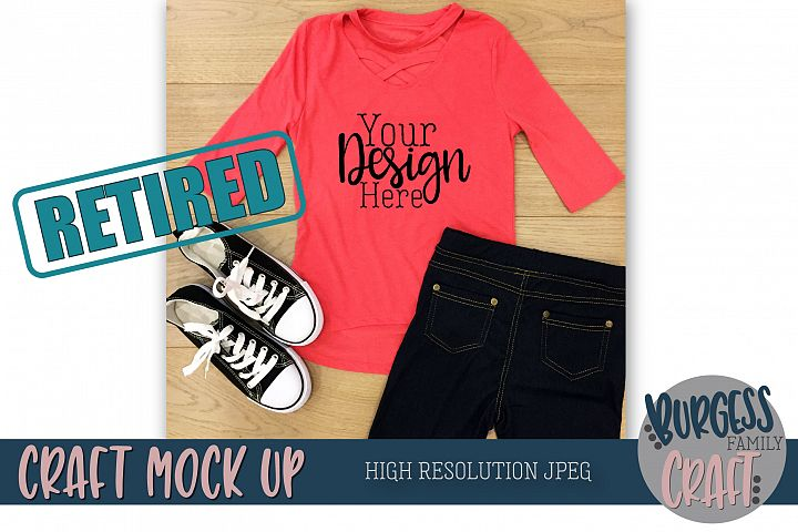 Girls pink shirt Craft Mock up | High Resolution JPEG