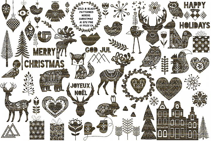 Nordic Patterned Black & Gold Christmas AI EPS Vecor & PNG