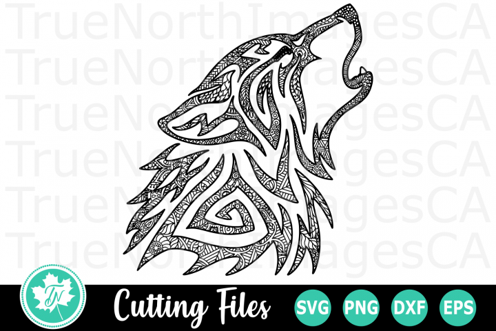 Zentangle Howling Wolf - An Animal SVG Cut File