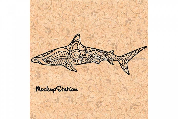 Shark Mandala SVG, Shark Lover Flower Decor PNG Cut File